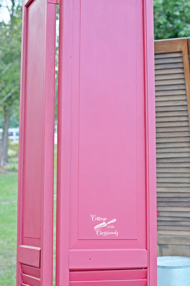 painted repurposed closet doors| Cottage at the Crossroads