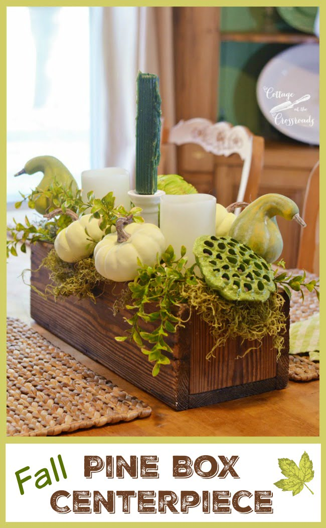Pretty fall table centerpiece made in a pine box using nontraditional colors | Cottage at the Crossroads