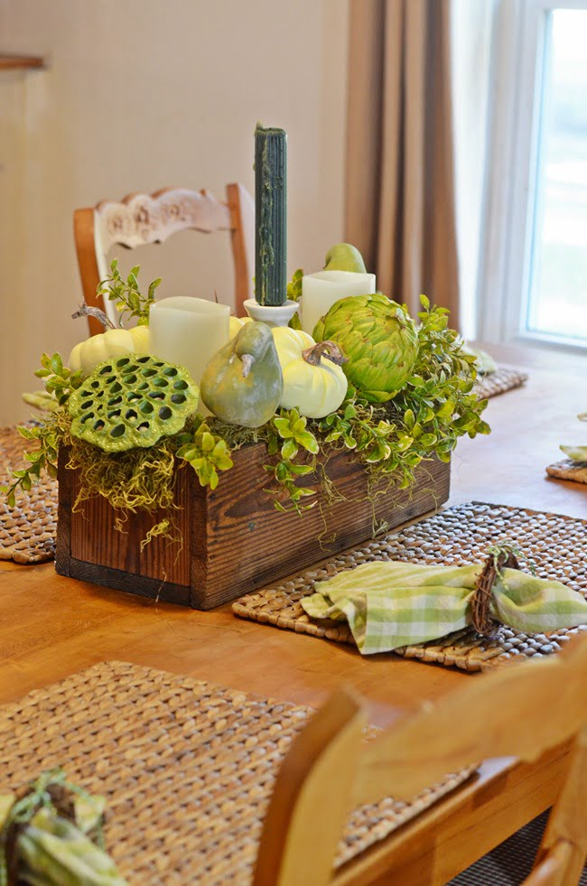 fall pine box centerpiece | Cottage at the Crossroads