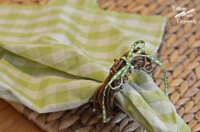 green and white checked napkin | Cottage at the Crossroads