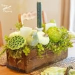 Pretty fall centerpiece made with a pine box using nontraditional colors | Cottage at the Crossroads