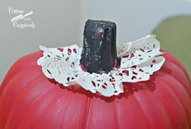 paper doily around the stem of a polka dot pumpkin | Cottage at the Crossroads