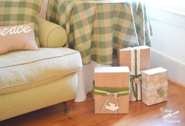 natural colored and green gift wrap | Cottage at the Crossroads