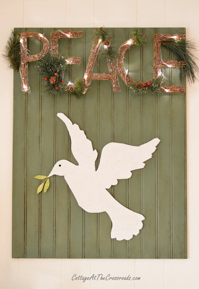 A Peaceful Christmas Mantel | Cottage at the Crossroads
