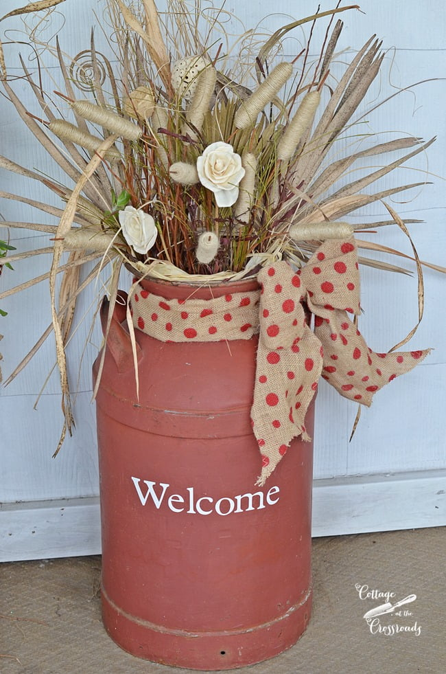 old milk can decorated for fall | Cottage at the Crossroads