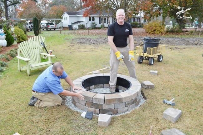 installation of Belgard fire pit - Our New Belgard Outdoor Fire Pit - Cottage At The Crossroads