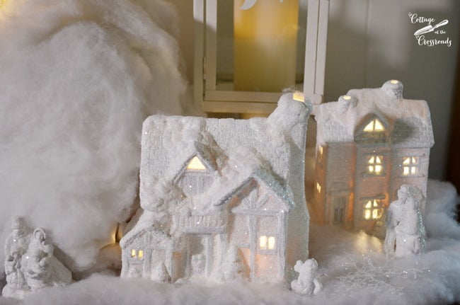 Christmas village houses painted white | Cottage at the Crossroads
