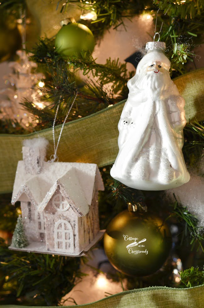 ornaments on a green and white Christmas tree | Cottage at the Crossroads