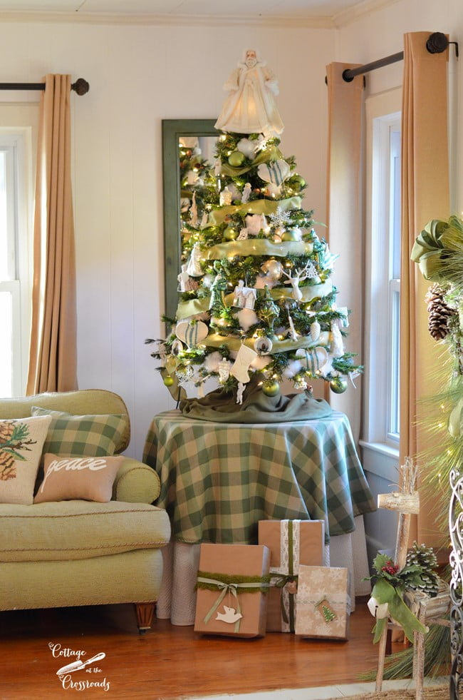 green buffalo plaid tree skirt and Christmas tree | Cottage at the Crossroads