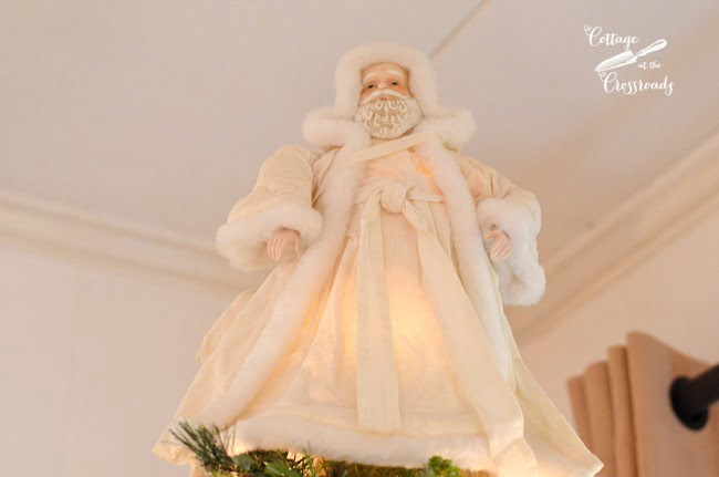 white Santa tree topper | Cottage at the Crossroads