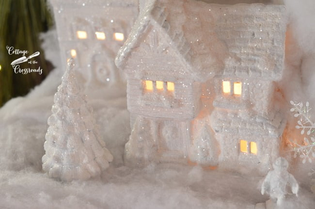 Christmas village painted white | Cottage at the Crossroads