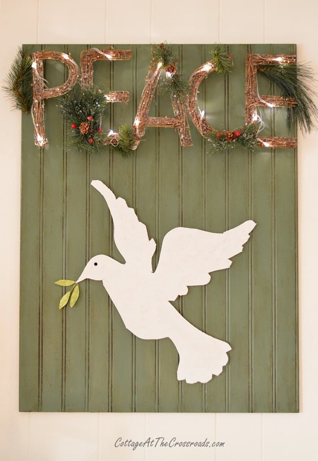 white dove and peace sign | Cottage at the Crossroads