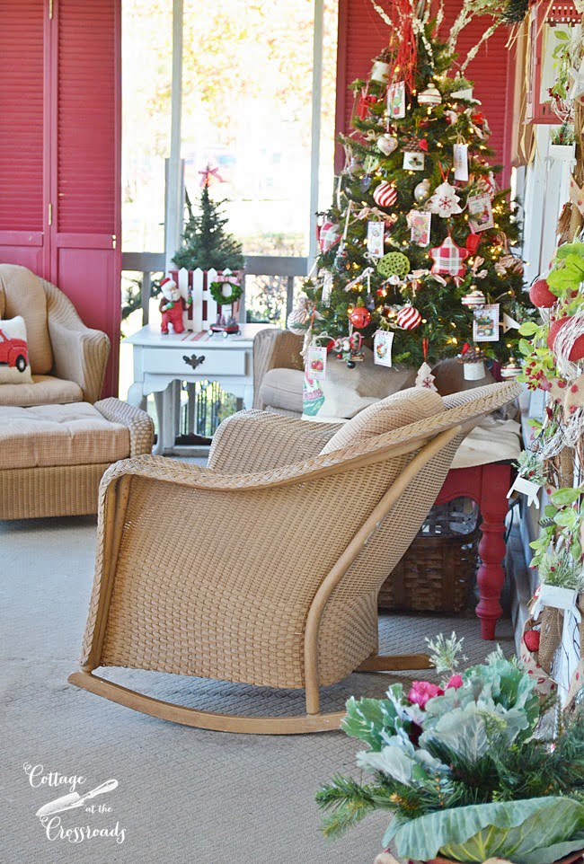 Cottage Christmas Porch with a Gardening Theme