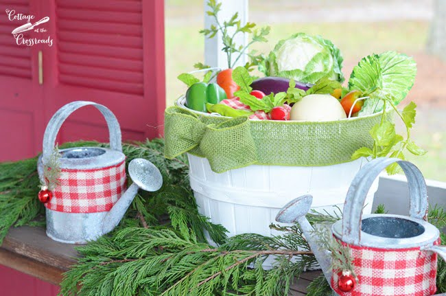 gardening basket and watering cans Christmas decoration