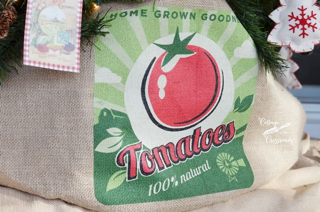 tomato grow bag used as a Christmas tree skirt