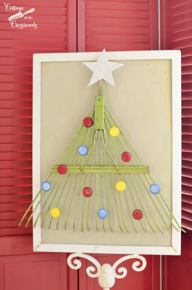 Christmas tree made from a rake