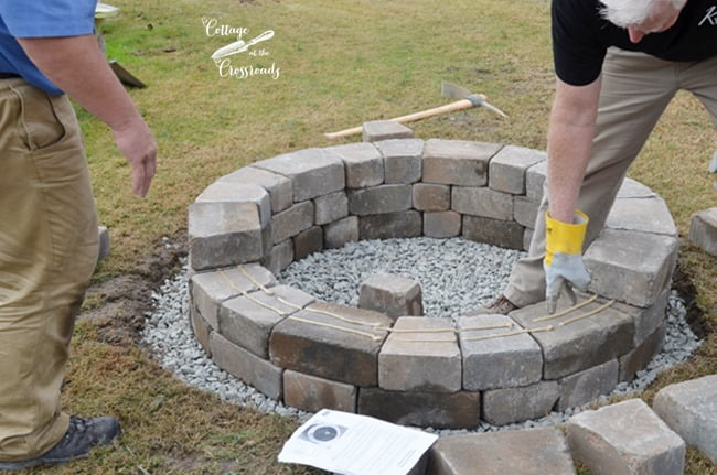 gluing stone layers of Belgard fire pit