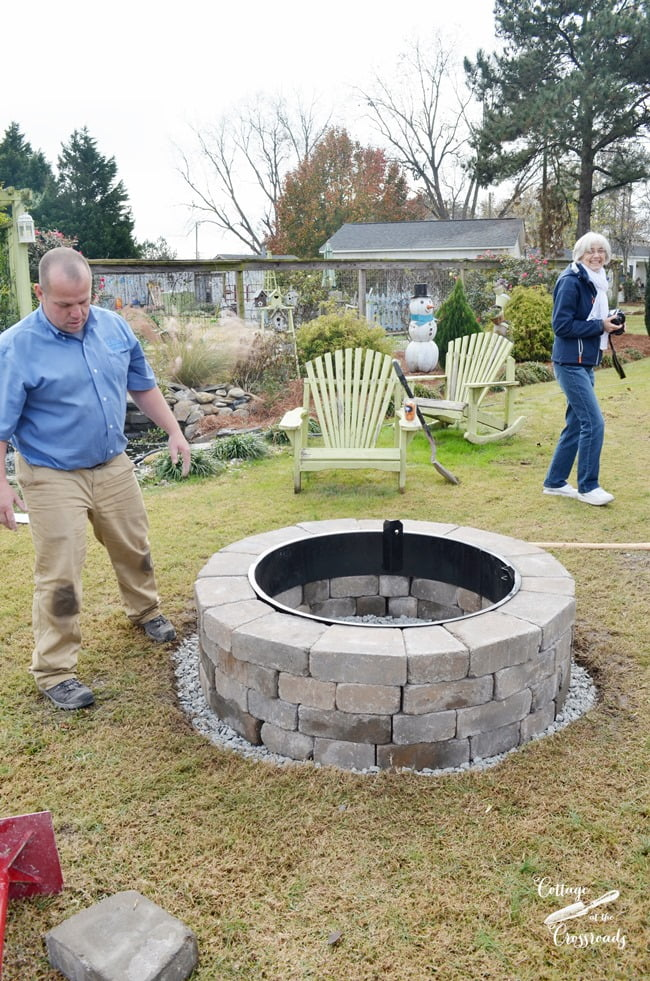 completed installation of Belgard fire pit