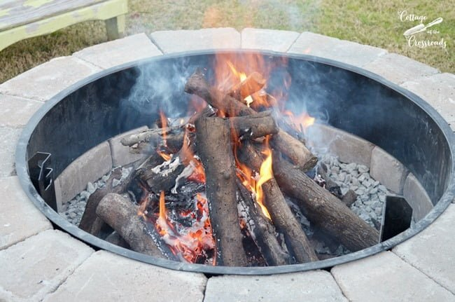 First fire in our new Belgard Fire Pit | Cottage at the Crossroads
