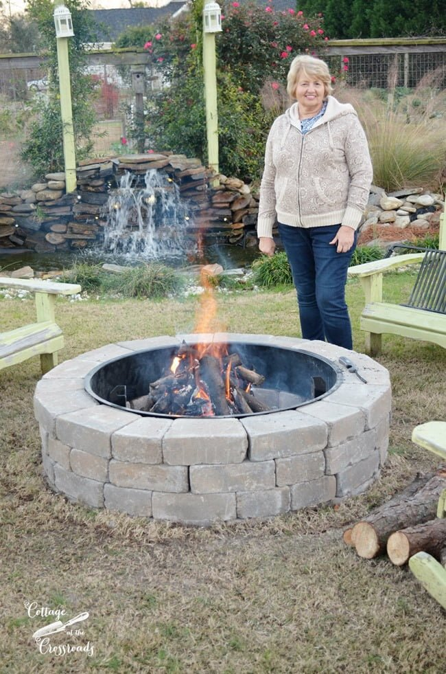 Our new Belgard Fire PIt | Cottage at the Crossroads - Our New Belgard Outdoor Fire Pit - Cottage At The Crossroads