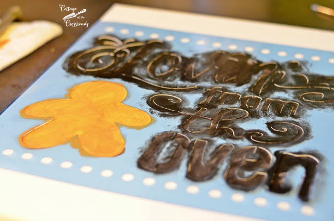 stenciled gingerbread sign