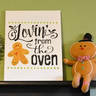 gingerbread stenciled sign