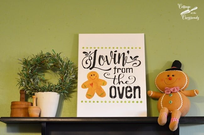 Lovin' from the Oven Stenciled Gingerbread Sign