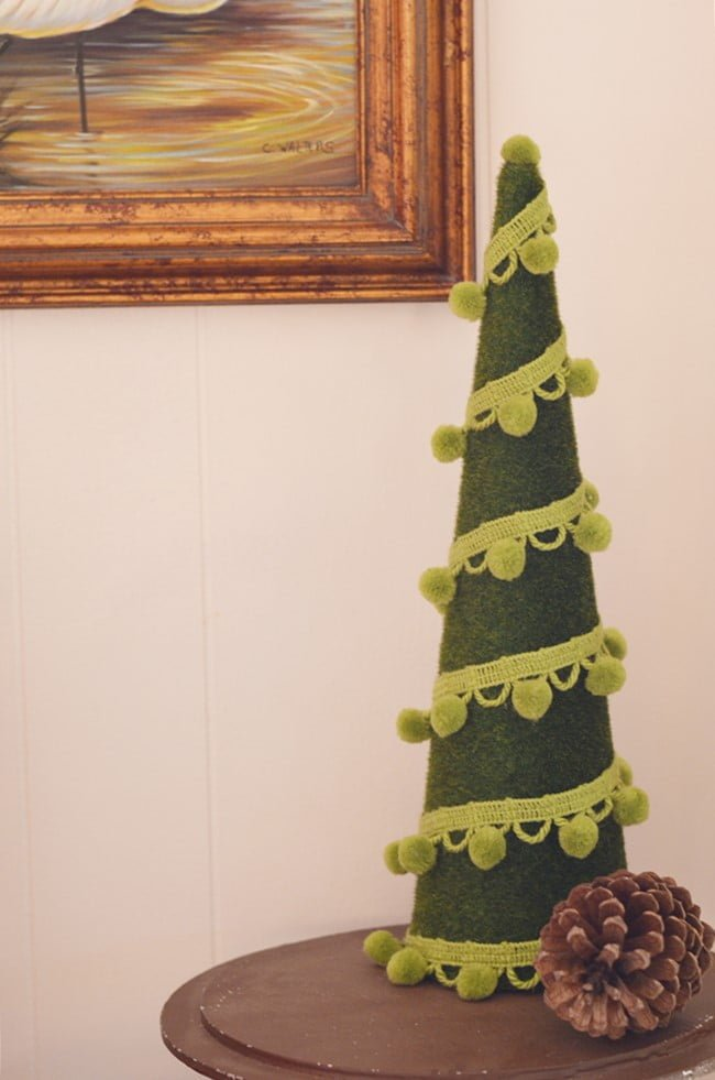 pom pom garland Christmas tree