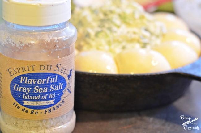 sea salt on rolls around turnip dip