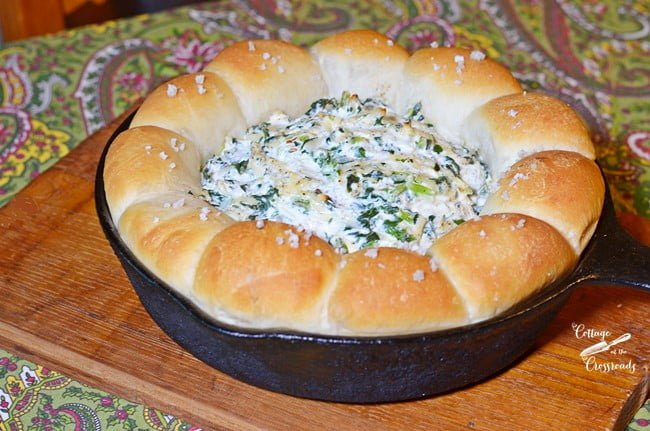 warm turnip dip with a bread ring