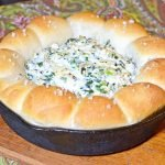 skillet turnip dip with a bread ring
