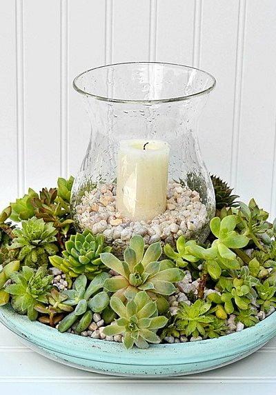 DIY Succulent Candle Centerpiece   Cottage at the Crossroads