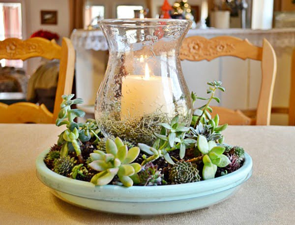DIY Succulent Candle Centerpiece | Cottage at the Crossroads