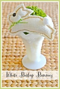 white burlap bunnies