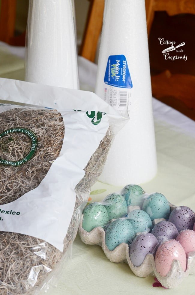 supplies needed to make an Easter egg topiary tree | Cottage at the Crossroads