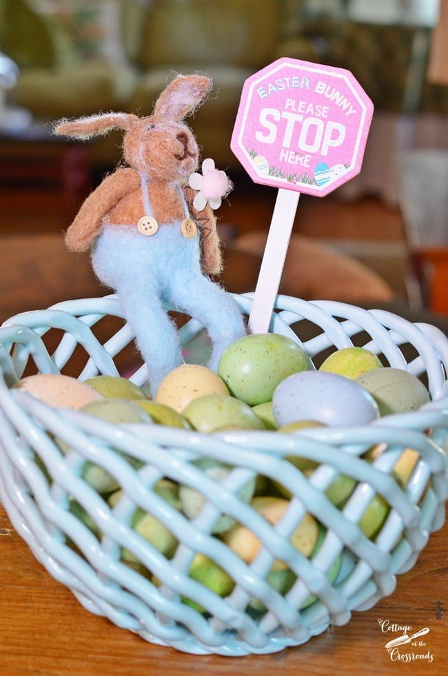 Easter eggs in a woven basket | Cottage at the Crossroads