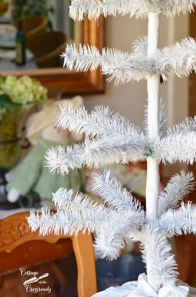 artificial feather tree spray painted white