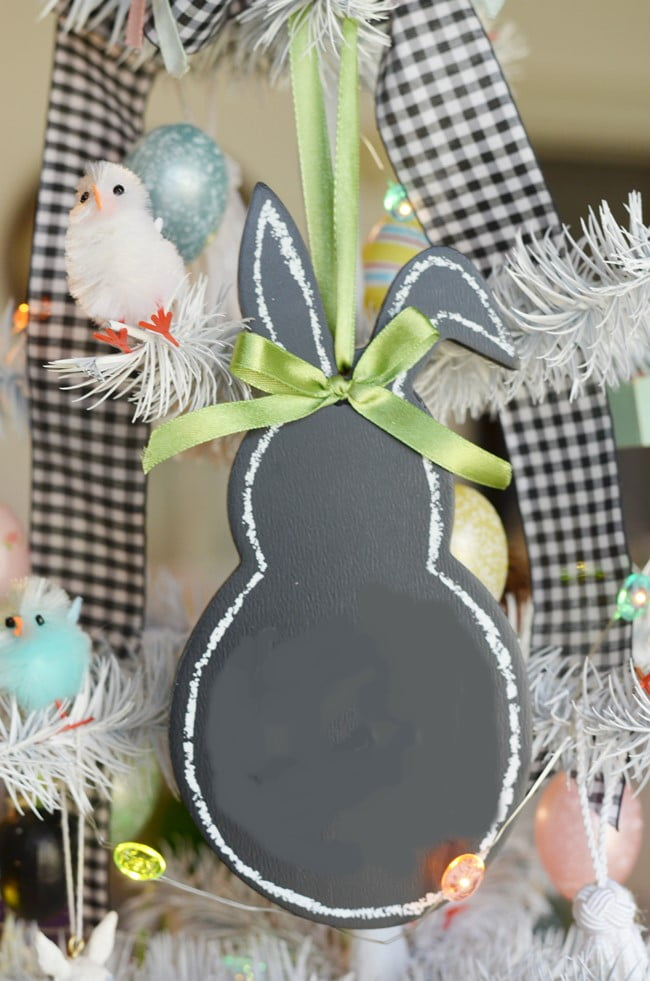bunny chalkboard on an Easter tree