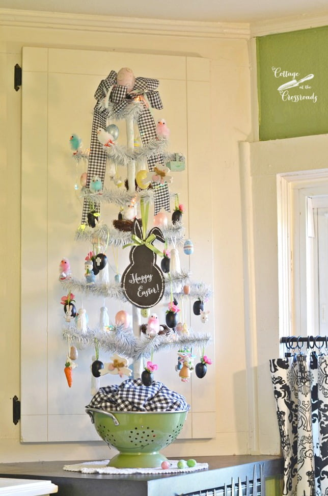 This decorated Easter tree brings spring into our kitchen