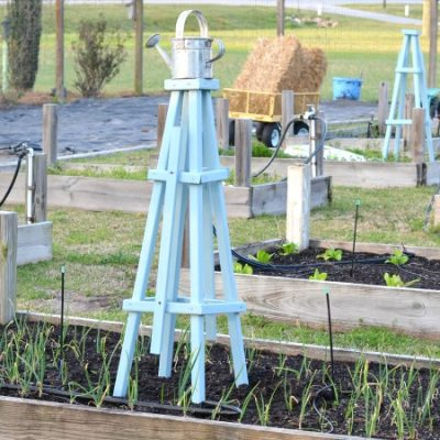 wooden pyramid shaped trellises for the garden | Cottage at the Crossroads