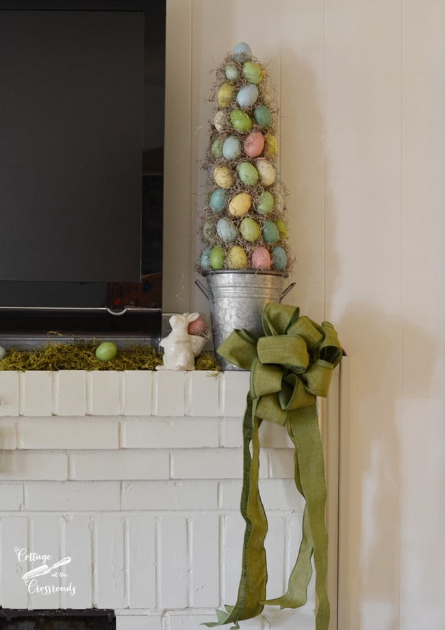 egg topiary on a spring decorated mantel | Cottage at the Crossroads