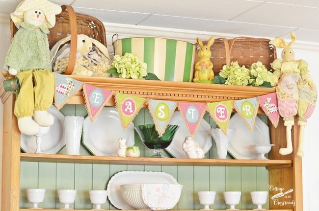 cupboard decorated for spring | Cottage at the Crossroads