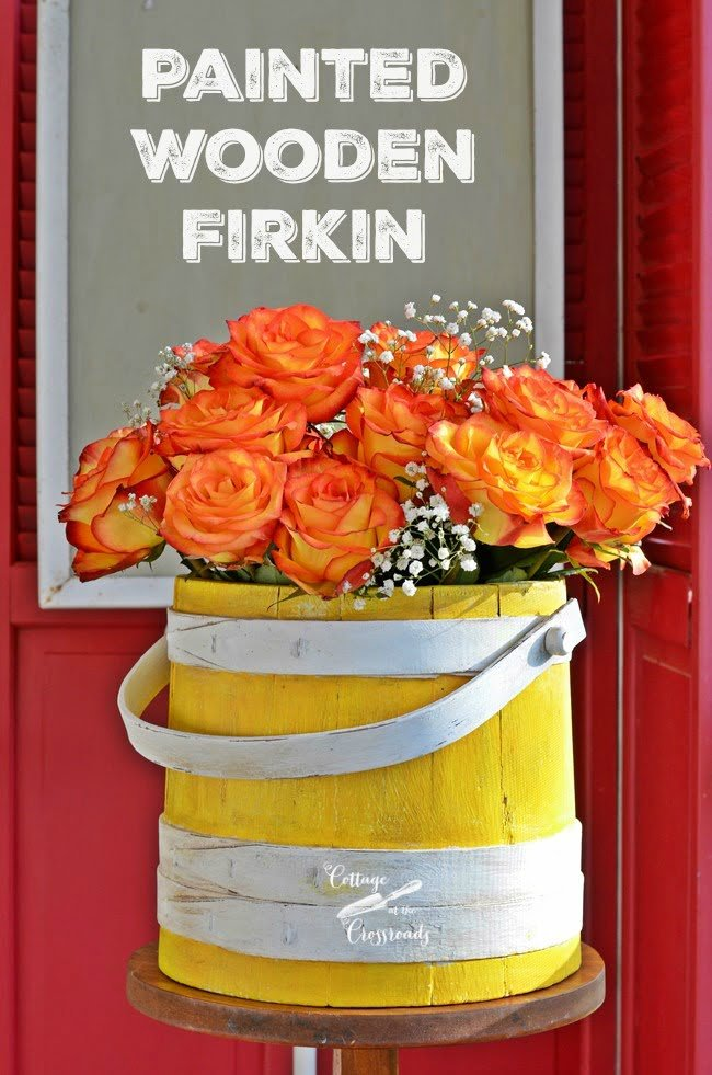 Painted Wooden Firkin Bucket | Cottage at the Crossroads