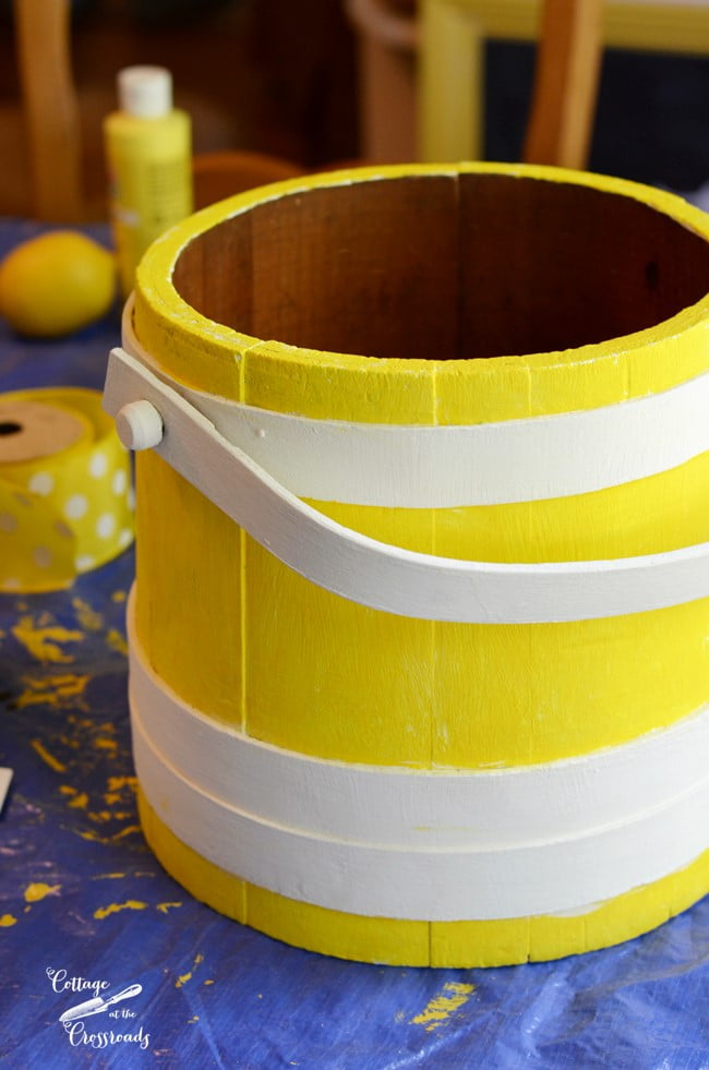 painted wooden firkin or sugar bucket | Cottage at the Crossroads
