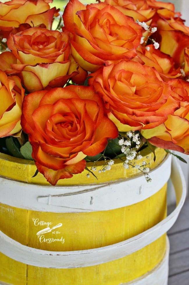 roses in a yellow painted wooden bucket | Cottage at the Crossroads