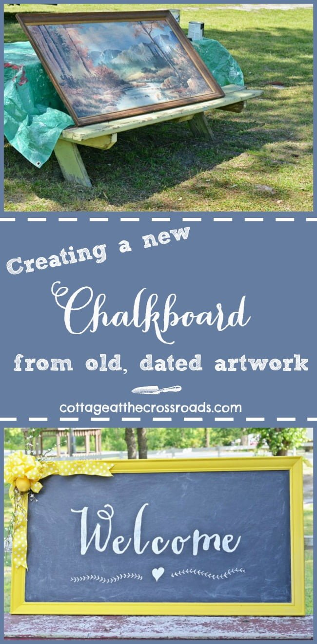 New Welcome Chalkboard Sign made from an old, dated piece of artwork
