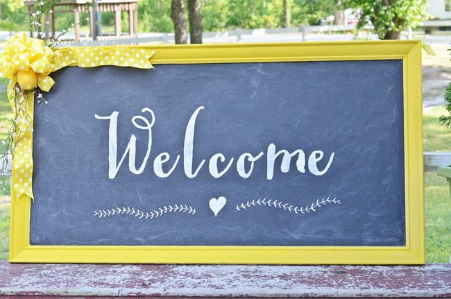 DIY Welcome Chalkboard Sign made from an old, dated piece of artwork | Cottage at the Crossroads