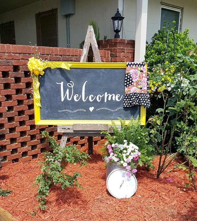 DIY Welcome Chalkboard Sign made from an old, dated piece of artwork