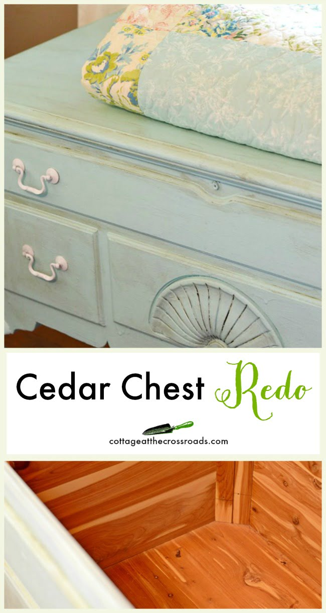 Vintage cedar chest painted with homemade chalky finish paint | Cottage at the Crossroads