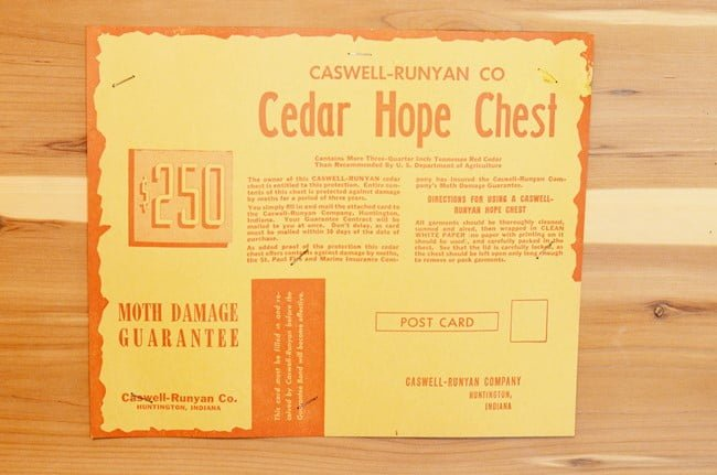cedar chest with the guarantee inside